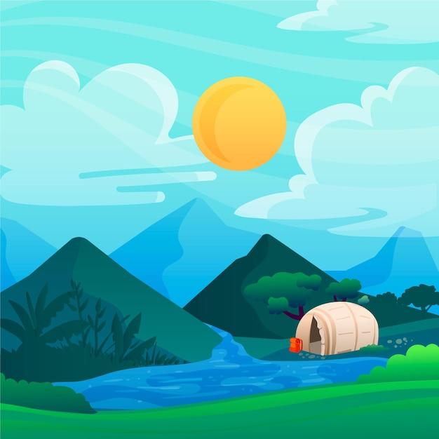 Camping gebied landschap illustratie met rivier Gratis Vector