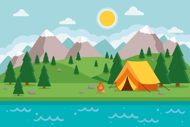 Camping gebied landschap Gratis Vector