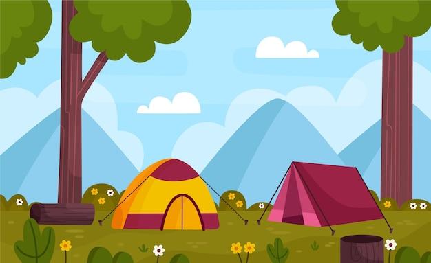 Camping gebied landschap Premium Vector