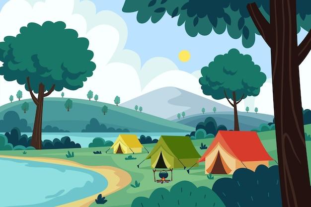 Camping gebied natuur landschap Premium Vector