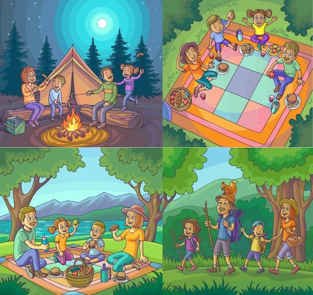 Camping gelukkige familie vakantie wandeling picknick set. Premium Vector