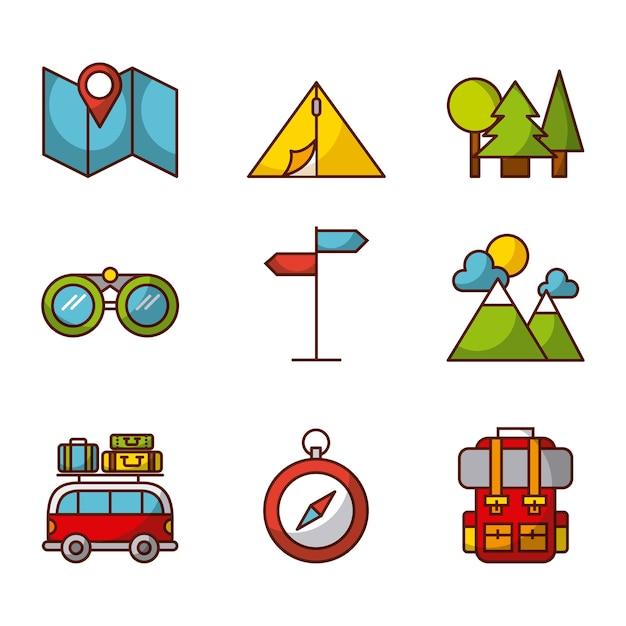Camping gerelateerde pictogrammen Premium Vector