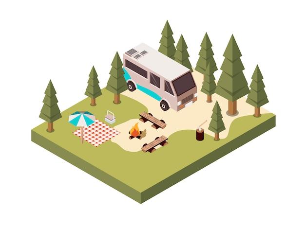 Camping in bos isometrisch ontwerp Gratis Vector