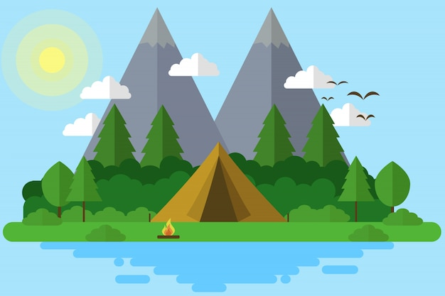 Camping in eiland illustratie Premium Vector