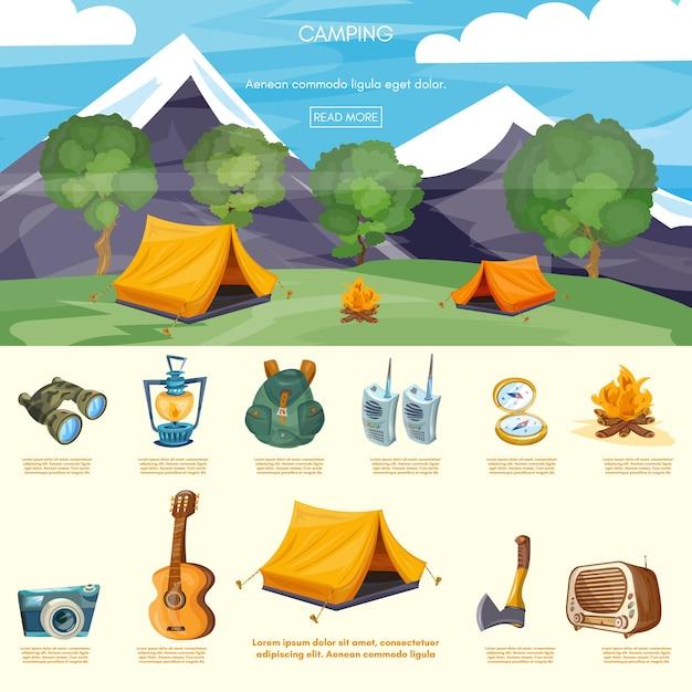 Camping infographic elementen Premium Vector