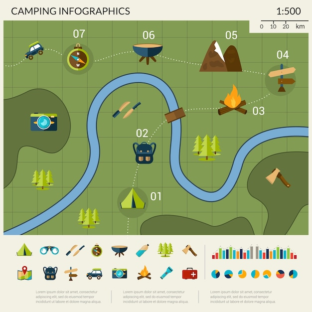 Camping infographics set Gratis Vector