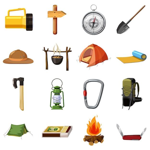 Camping items pictogrammen instellen. beeldverhaalillustratie van 16 het kamperen punten vectorpictogrammen voor web Premium Vector