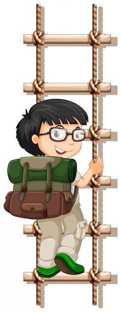 Camping jongen klimmen touw lader Premium Vector