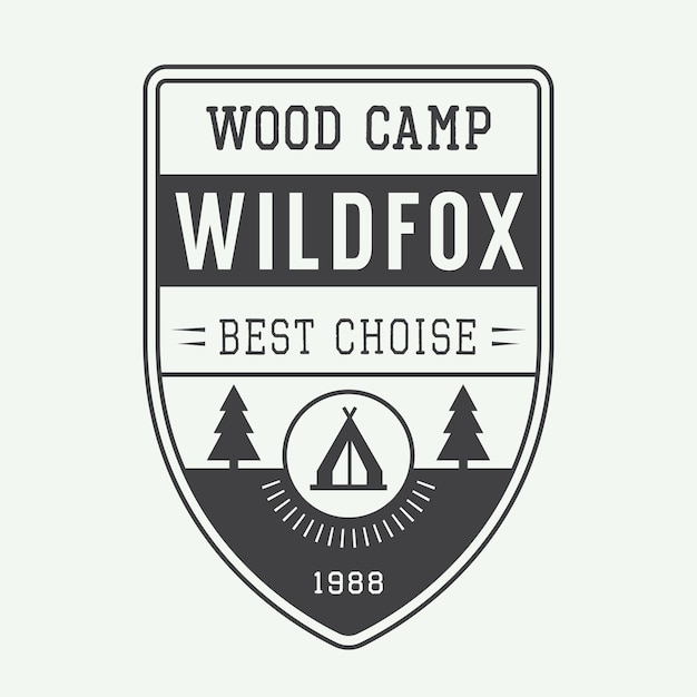 Camping label, embleem Premium Vector