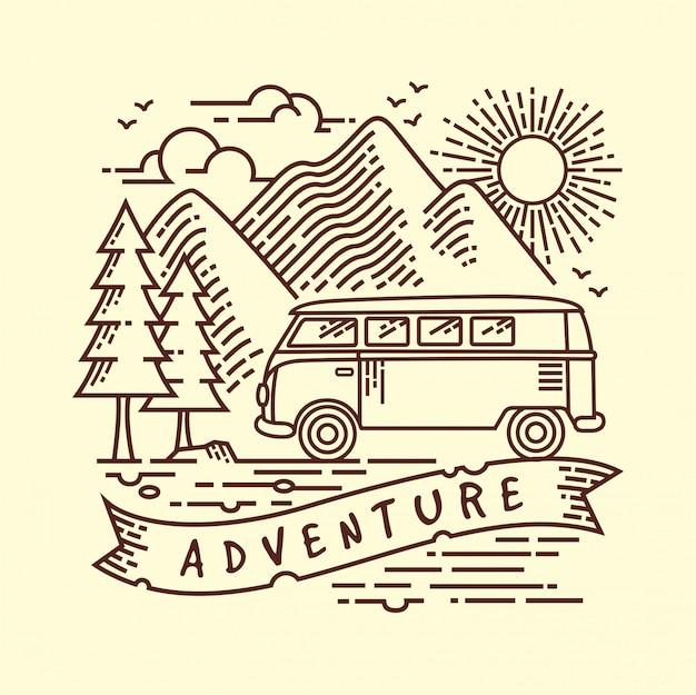 Camping lijn illustratie Premium Vector