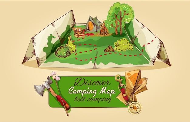 Camping map sketch Gratis Vector