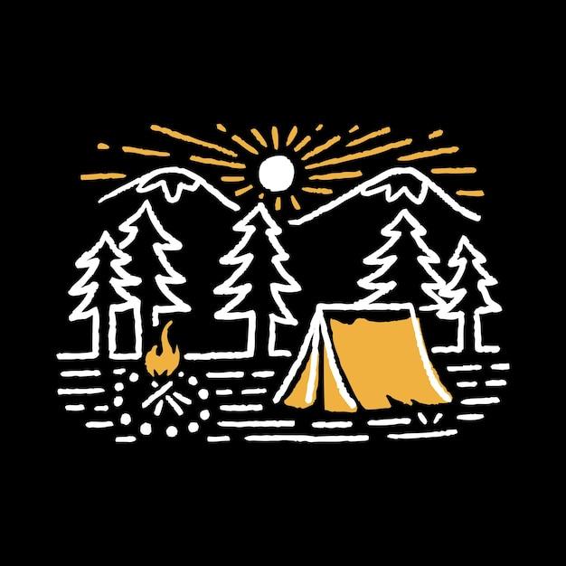 Camping natuur avontuur wilde lijn badge Premium Vector