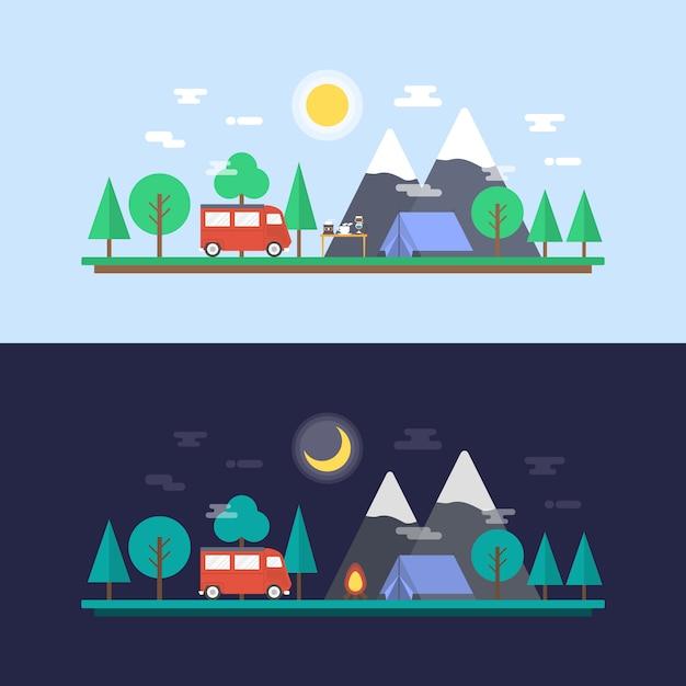 Camping ontwerpt collectie Gratis Vector
