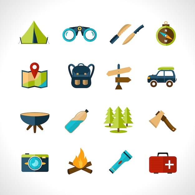Camping pictogrammen instellen Gratis Vector