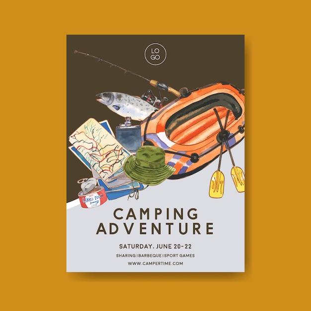 Camping poster met illustraties van hengel, vis, boot, kaart en vissershoed Gratis Vector