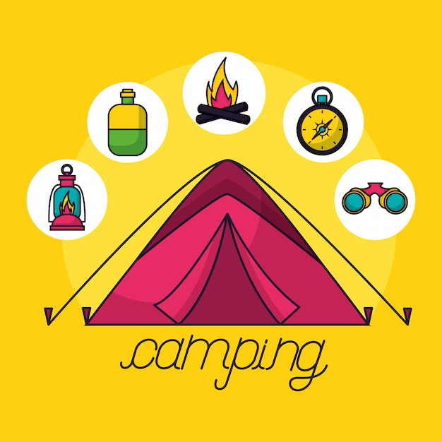 Camping reis-elementen in vlakke stijl Gratis Vector