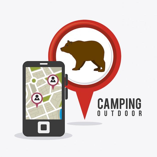 Camping reizen en vakanties. Gratis Vector