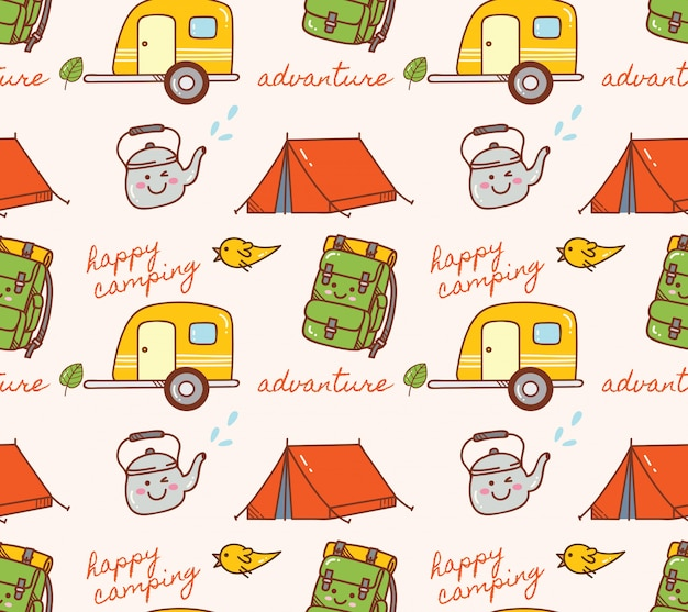 Camping thema naadloze achtergrond Premium Vector