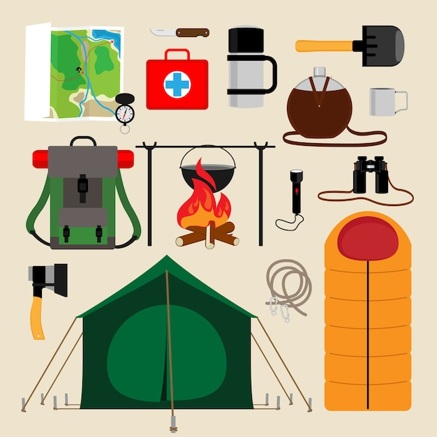Camping uitrusting pictogrammen. voorzieningen voor toerisme, recreatie, survival in het wild. vector illustratie Gratis Vector