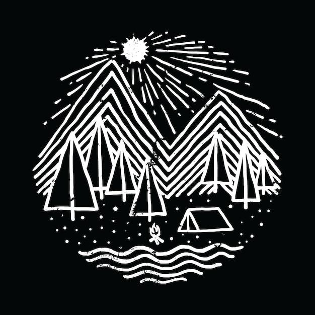 Camping wandelen avontuur natuur grafische illustratie vector kunst t-shirt design Premium Vector