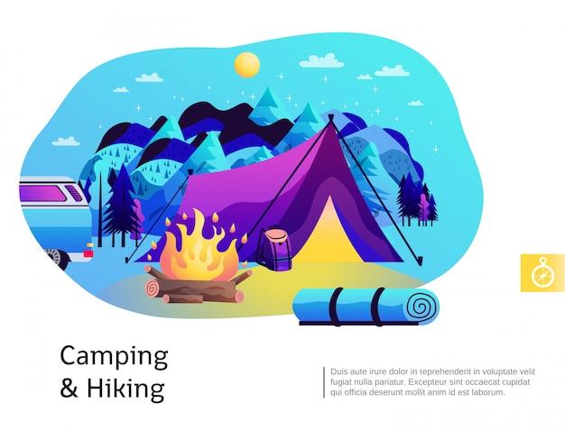 Camping wandelen kleurrijke illustratie Gratis Vector