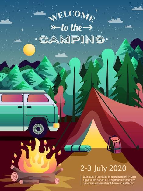Camping wandelen poster Gratis Vector