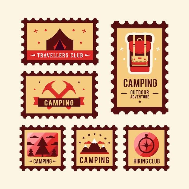 Camping wildernis avontuur badge grafisch ontwerp logo embleem Gratis Vector