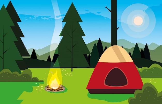 Camping zone met tent en kampvuur dag landschap Premium Vector