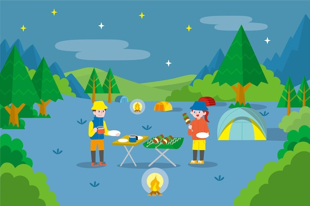 Campinglandschap met barbecue Gratis Vector
