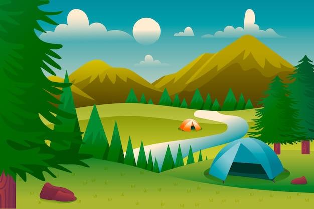 Campinglandschap met tenten en bergen Gratis Vector