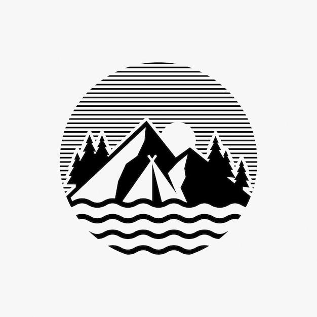 Campinglogo ontwerpinspiratie Premium Vector