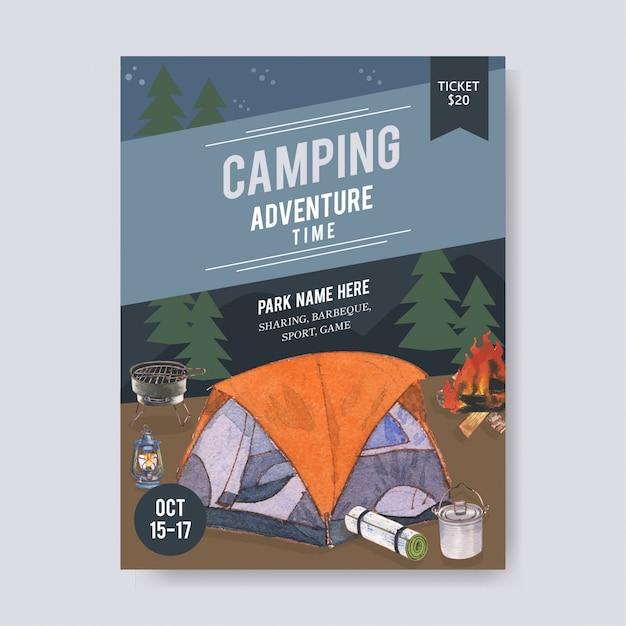 Campingposter met illustraties voor tent, busje, lantaarn en grill Gratis Vector