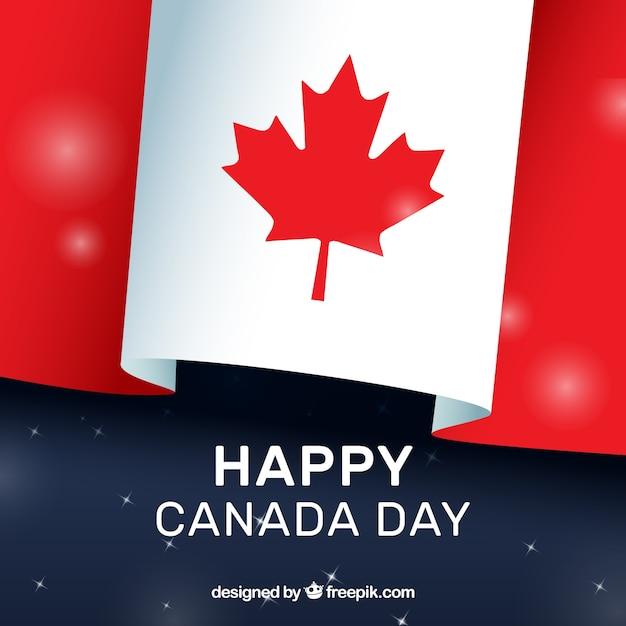 Canada dag achtergrond met vlag en glanzende vormen Gratis Vector