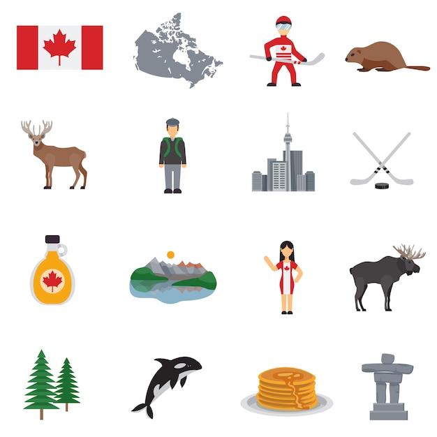Canada plat pictogrammen instellen Premium Vector