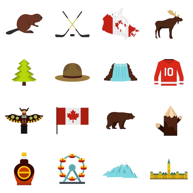 Canada reizen pictogrammen instellen in vlakke stijl Premium Vector