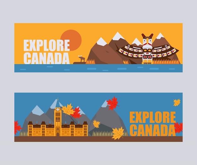 Canadese symbolen en bezienswaardigheden Premium Vector
