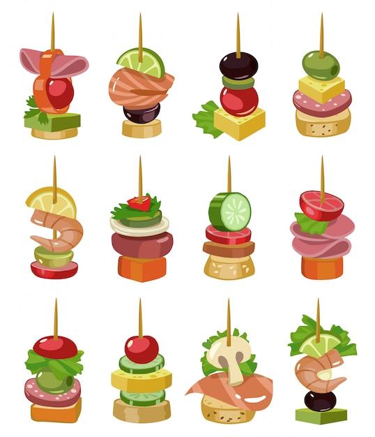 Canape van voorgerecht cartoon vectorillustratie. canape voor buffet vastgesteld pictogram. vector illustratie koud eten. stel pictogram koud voorgerecht. Premium Vector