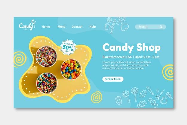 Candy-bestemmingspagina-sjabloon Gratis Vector