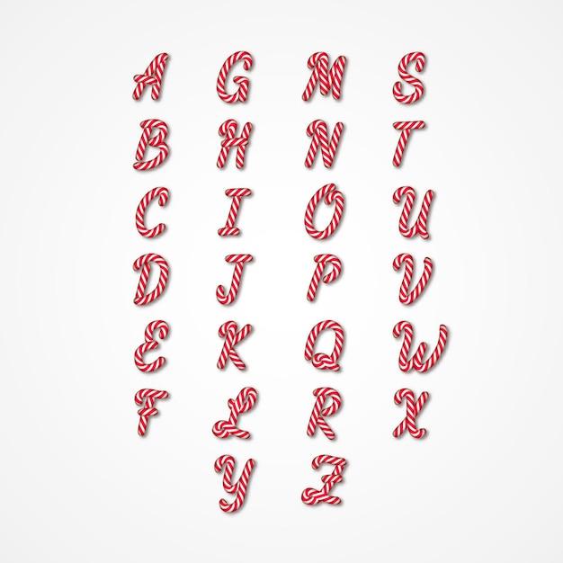 Candy cane alfabet bewerkbaar Premium Vector