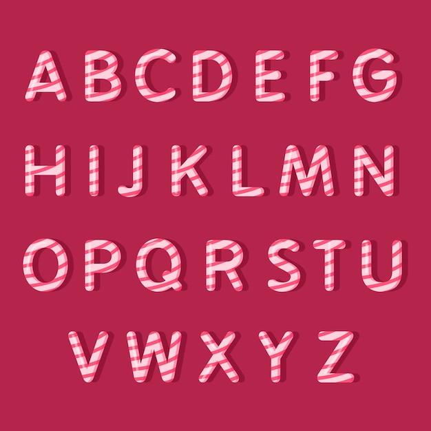 Candy cane kerst alfabet Gratis Vector