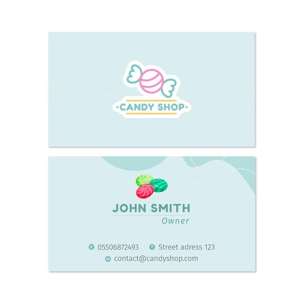 Candy dubbelzijdig visitekaartje h Gratis Vector
