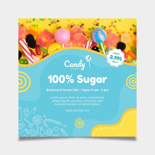 Candy flyer-sjabloon Gratis Vector