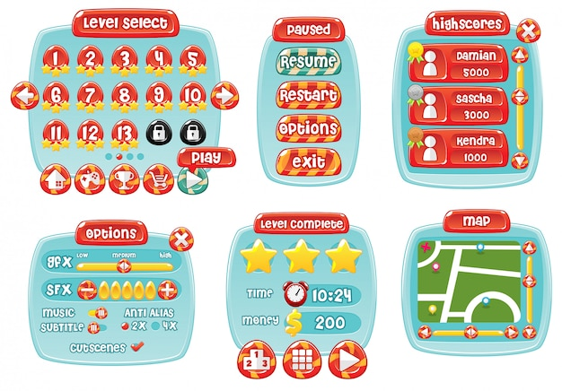 Candy game gui Premium Vector