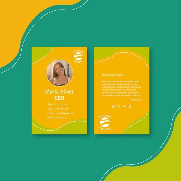 Candy id-kaartsjabloon Gratis Vector