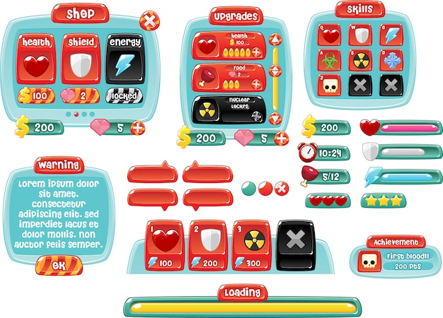 Candy land game gui Premium Vector