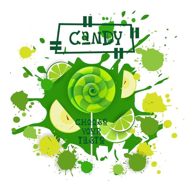 Candy lime en apple lolly dessert kleurrijke icon choose your taste cafe poster Premium Vector