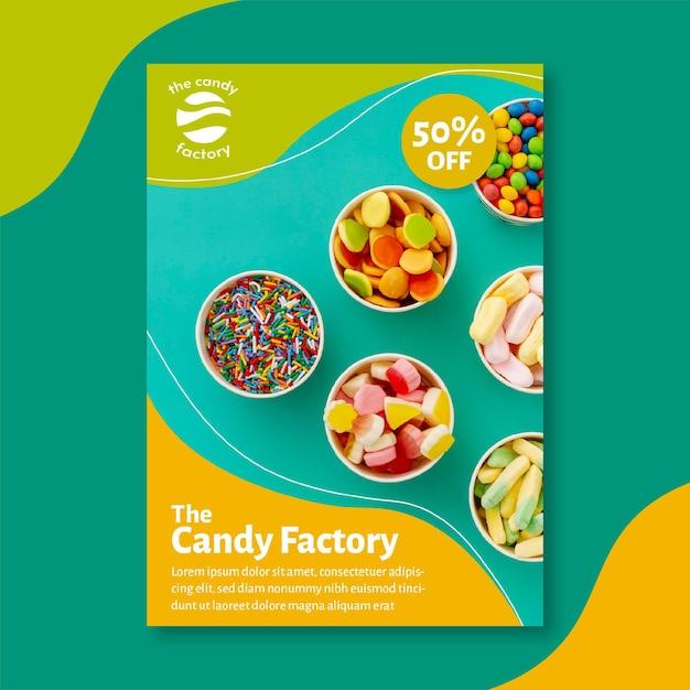 Candy poster sjabloon Gratis Vector