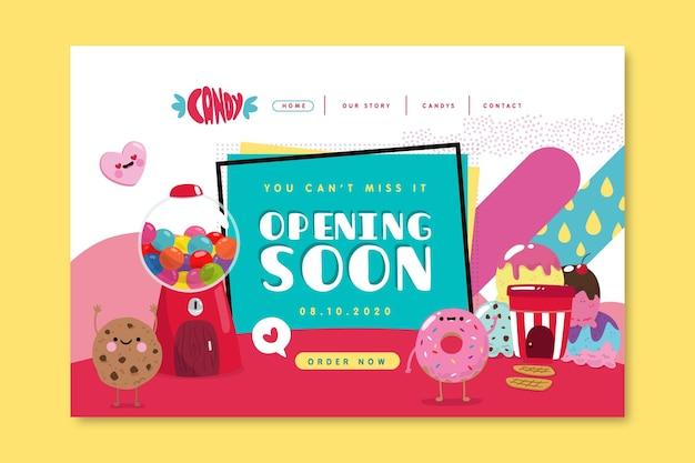 Candy shop bestemmingspagina sjabloon Gratis Vector