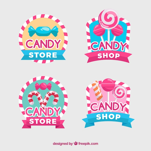 Candy shop emblemen verzameling voor bedrijven Gratis Vector