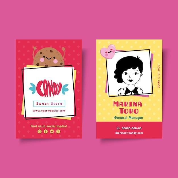 Candy shop id-kaartsjabloon Gratis Vector